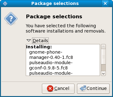 fedora software package selections details