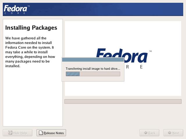 Linux fedora core 4 installation process start to install fedora.