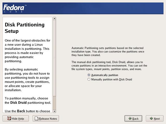 Running Anaconda the Graphical Fedora Core 4 System Installer
