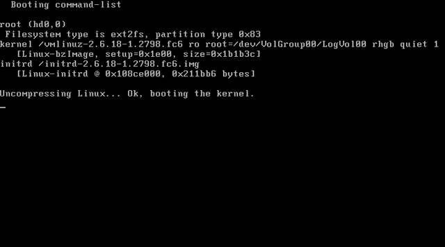grub booting the linux kernel