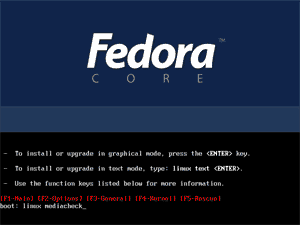Fedora core 4 installation screenshot: [F1-Main] linux mediacheck screen
