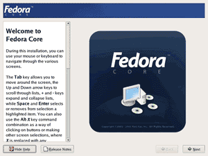 Fedora core 4 installation screenshot: Welcome to Fedora Core screen.