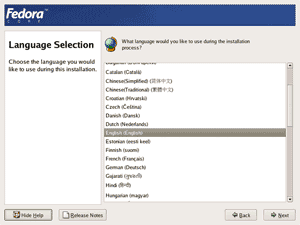 Fedora core 4 installation screenshot: Language Selection screen.