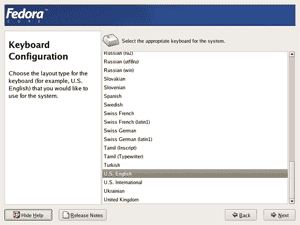 Fedora core 4 installation screenshot: Keyboard Configuration screen.