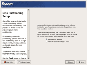 Fedora core 4 installation screenshot: Disk Partitioning Setup screen.