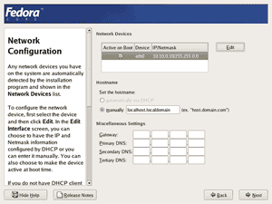 Fedora core 4 installation screenshot: Hostname setting screen.