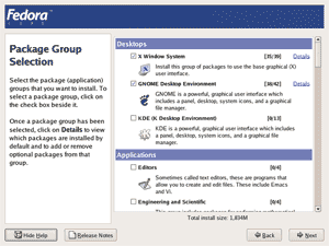 Fedora core 4 inatallation screenshot: Package Group Selection screen.