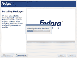 fedora core installing packages transferring install image to hard drive