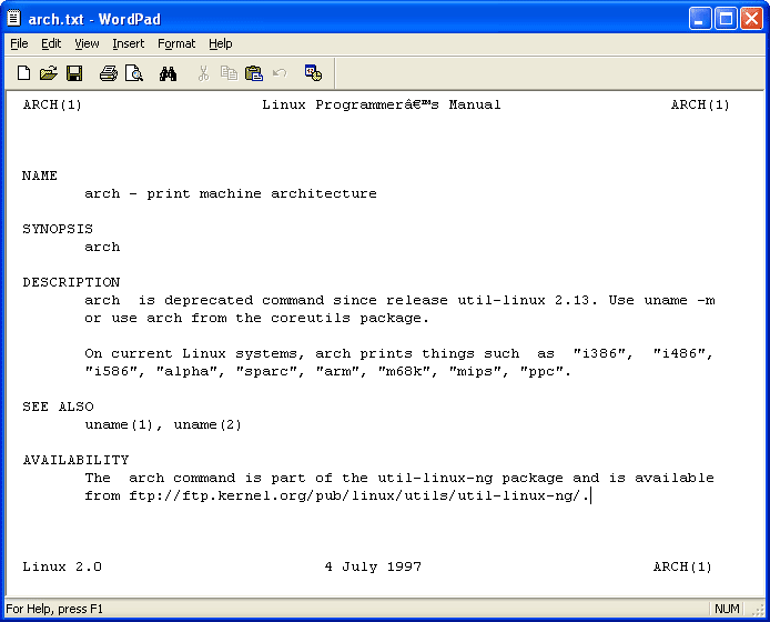 Linux manual page text file on windows