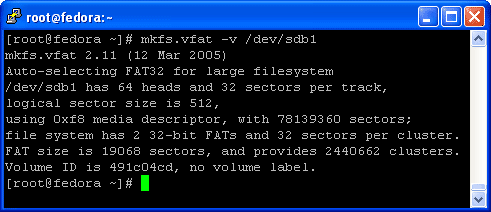 Use the mkfs.vfat command as show on the example below to format the USB hard disk to vfat filesystem.
