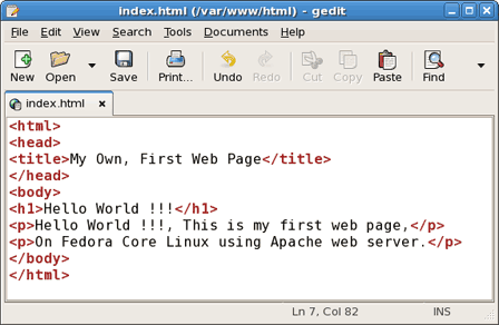 Edit html code using linux gedit editor