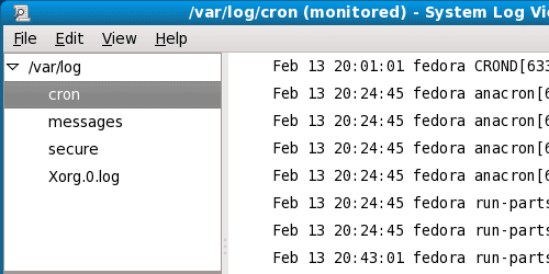 System Log viewer window on Linux Fedora 10.