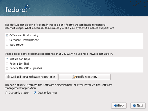 Select Fedora 10 Software Installation Packages