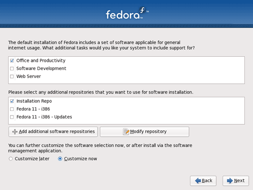 Fedora 11 Software Package Group Selection
