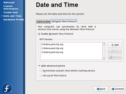 Fedora 11 Network Time Protocol Configuration