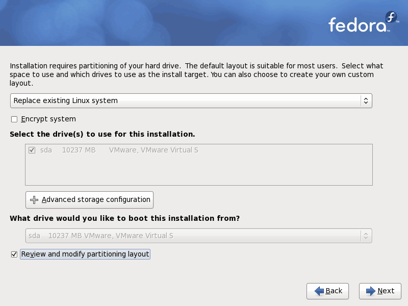 Fedora 12 Partition Layout Screenshot