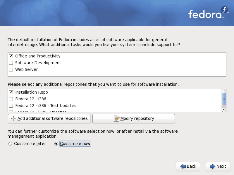Fedora 12 Customize Software Screenshot