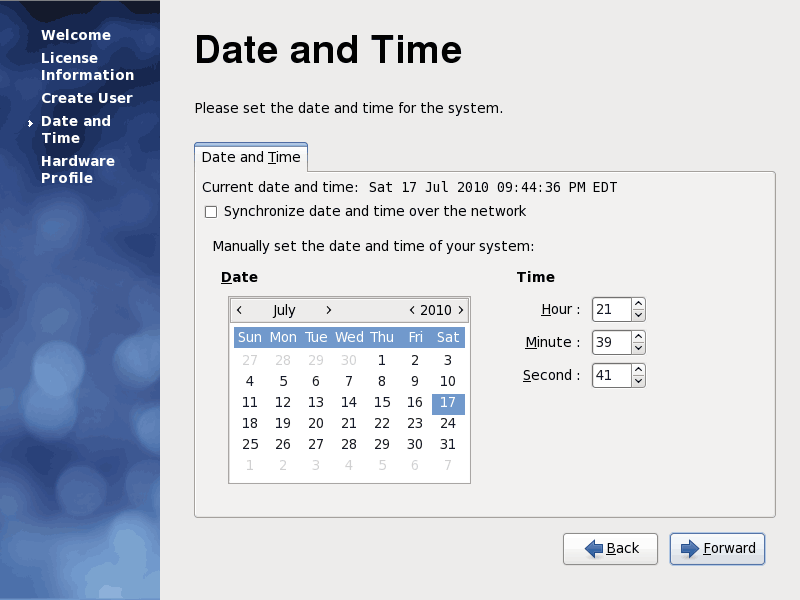 Fedora 12 Date and Time Screenshot