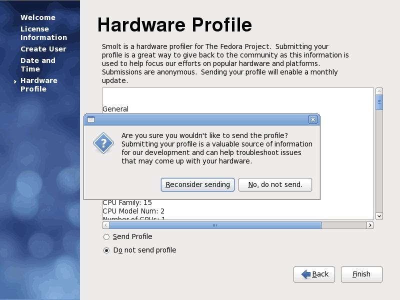 Fedora 12 Sending Hardware Profile Screenshot
