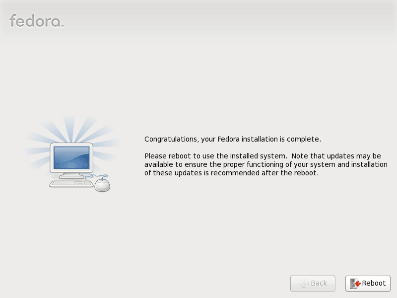 Fedora 13 Installation Complete Screenshot
