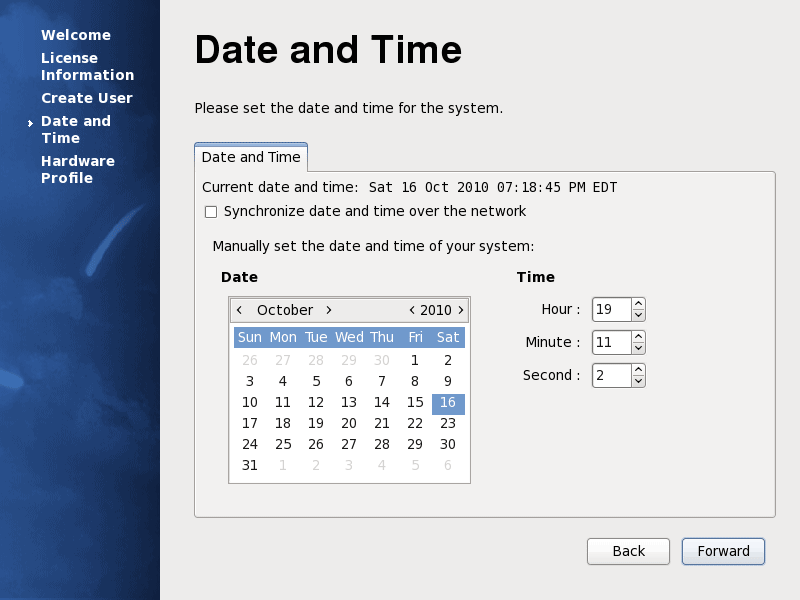 Fedora 13 Date and Time Screenshot