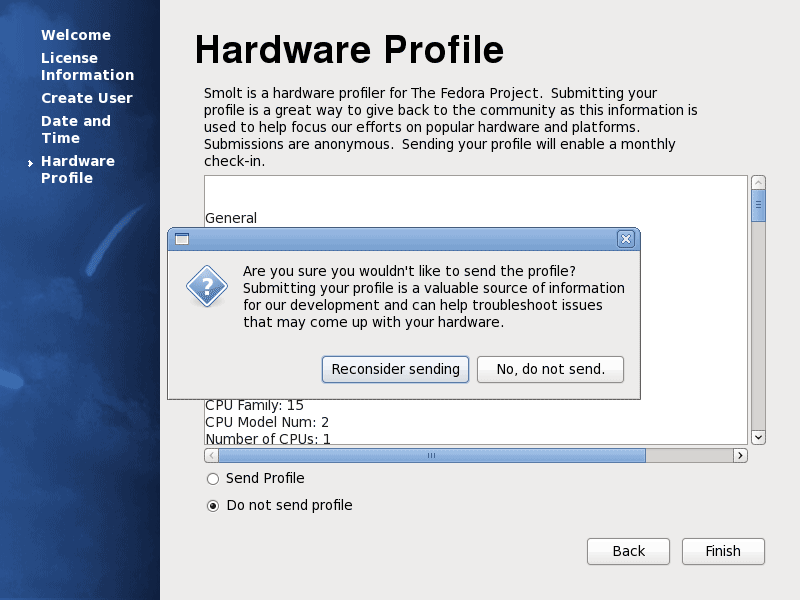 Fedora 13 Sending Hardware Profile Screenshot