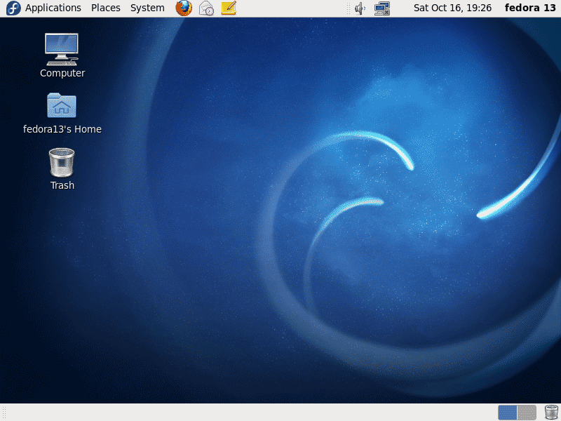 Linux Desktop on Fedora 13 Screenshot