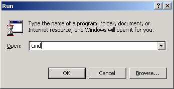 Open Windows 2000 Command Prompt (cmd.exe).