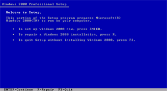 Windows 2000 Professional screenshot: Windows 2000 professional setup