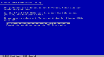 Windows 2000 Professional screenshot: Format partition