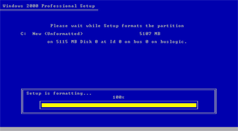 Windows 2000 Professional screenshot: Setup format the partition