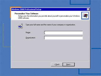 Install Windows 2000 Professional: Personalize Your Software