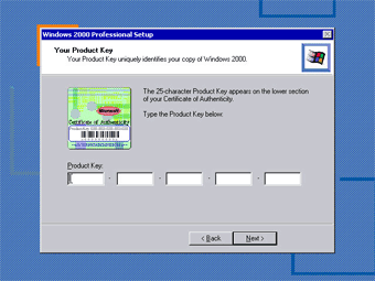 Install Windows 2000 Professional: Your Product Key