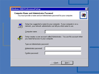 Install Windows 2000 Professional: Computer Name and Administrator Password