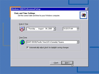 Install Windows 2000 Professional: Date and Time Settings