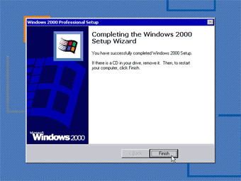 Install Windows 2000 Professional: Completing the Windows 2000 setup Wizard