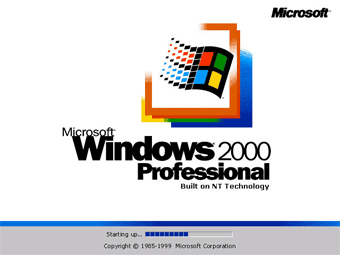 Install Windows 2000 Professional: First boot