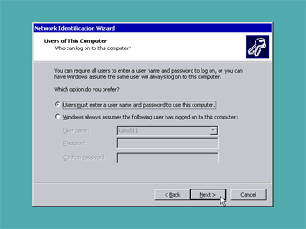 Install Windows 2000 Professional: Users of this computer