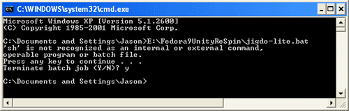 Path error message 'sh' is not recognized as an internal or external command