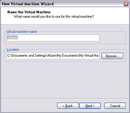 Linux Fdeora Virtual Machine Name